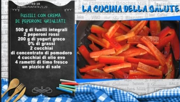 Ricette della salute Marco Bianchi: fusilli con crema di peperoni grigliati