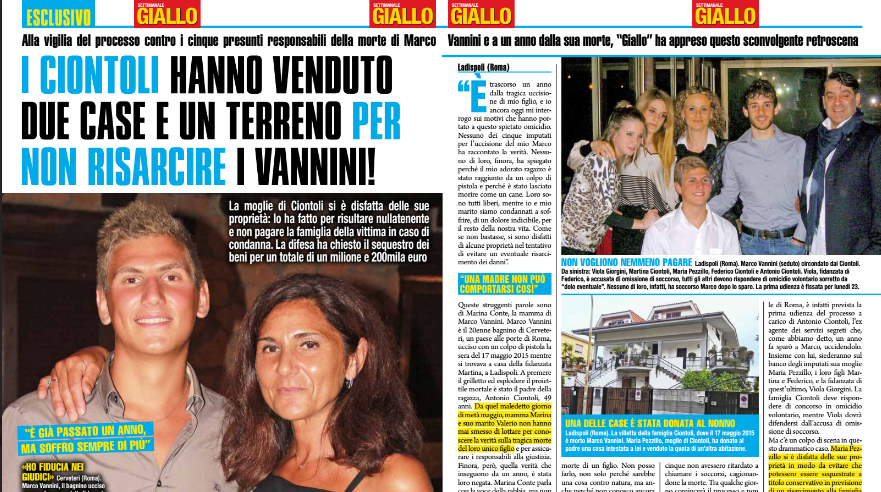 Un anno dopo la morte di Marco Vannini: i Ciontoli hanno ...