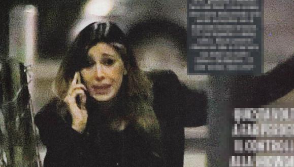 Belen Rodriguez in lacrime al telefono durante una cena con Andrea Iannone (Foto)
