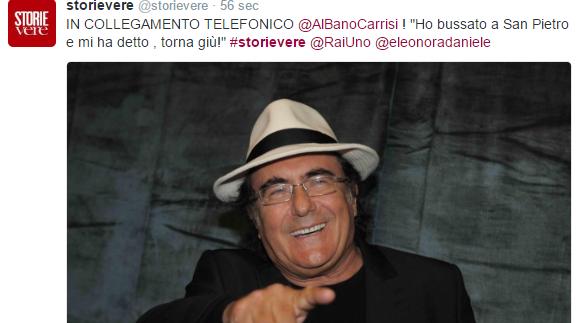 """Al Bano in diretta a Storie Vere: """"Ho incontrato San Pietro e mi ha detto torna giù"""""""