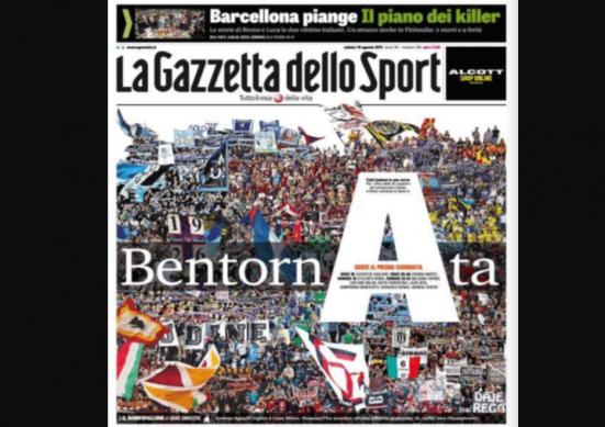 Gazzetta Calendario Serie A.Torna La Serie A Il Calendario Della Prima Giornata 19 20