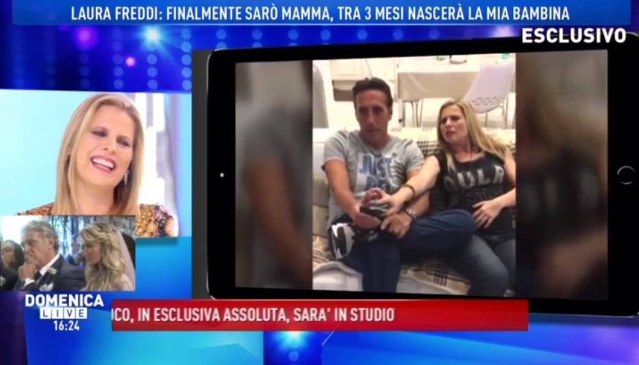 Laura Freddi con il suo pancione a Domenica Live in attesa della sua bambina (FOTO)