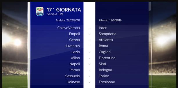 Calendario Serie A 22 Giornata.Calendario Completo Serie A 2018 2019 Tutte Le Date Delle