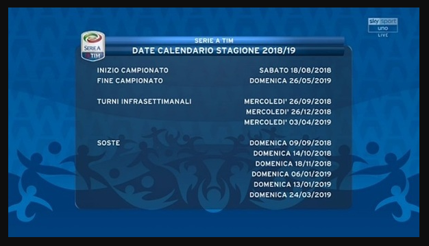 Il Calendario Romano Riassunto.Calendario Completo Serie A 2018 2019 Tutte Le Date Delle