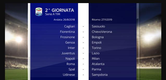Calendario Serie A Seconda Giornata.Calendario Completo Serie A 2018 2019 Tutte Le Date Delle