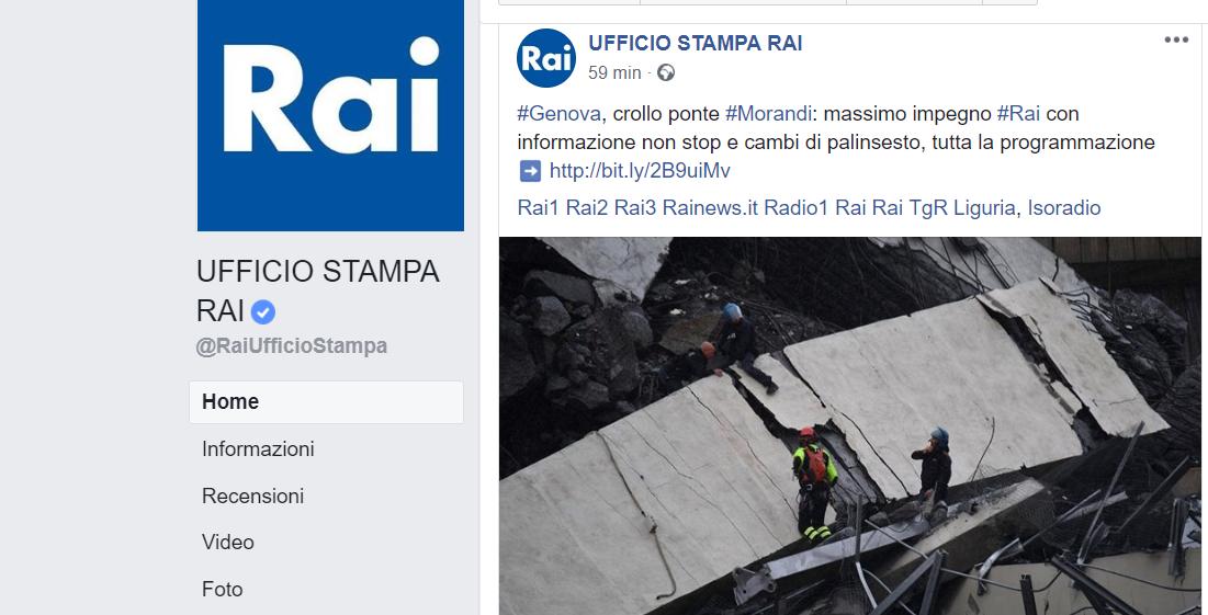 Crollo ponte Morandi: cambia il palinsesto di Rai 1 per la prima serata