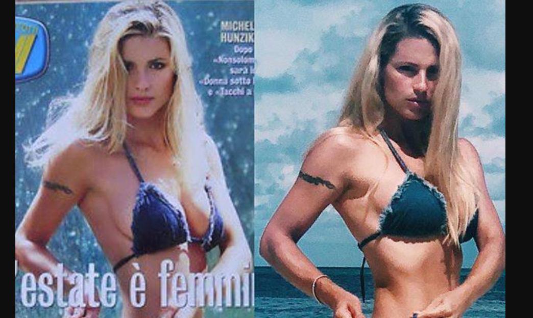 Michelle Hunziker prima e dopo: a distanza di 20 anni perfetta con lo stesso bikini