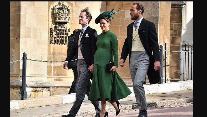 Pippa Middleton con il pancione sceglie il verde per il Royal Wedding di Eugenie (FOTO)