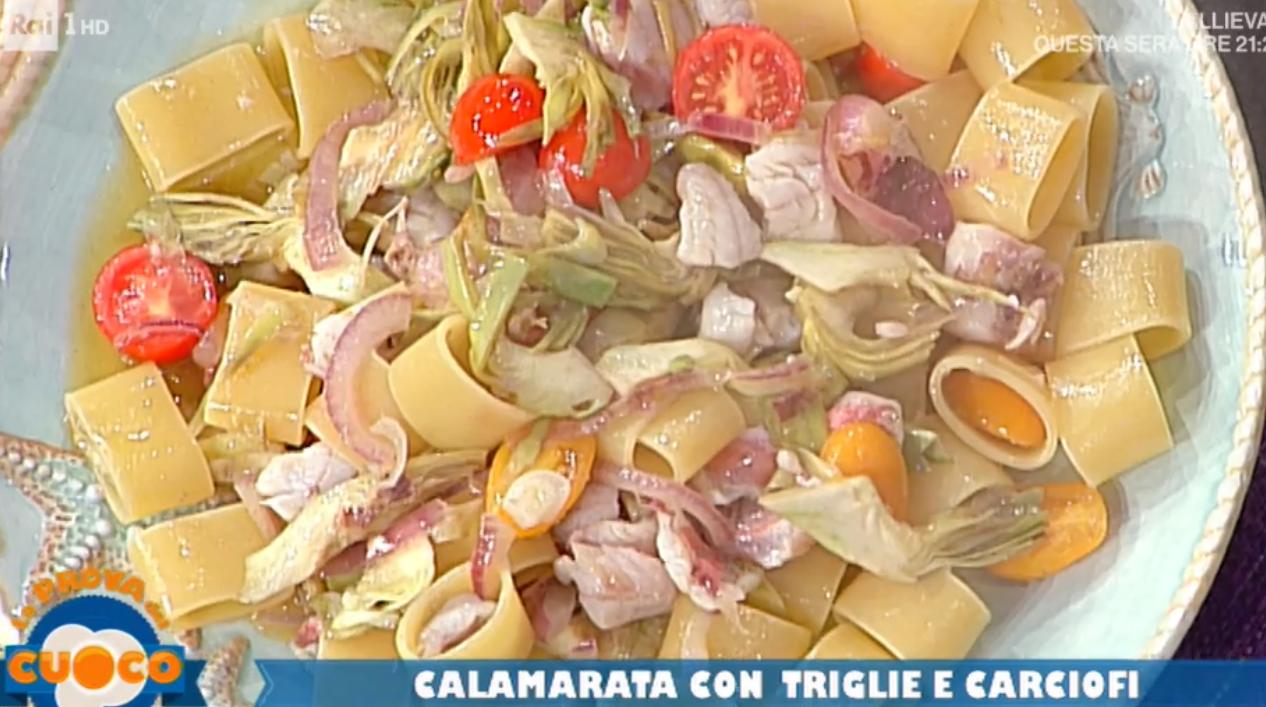 La prova del cuoco oggi, la ricetta della calamarata con triglie e carciofi di Diego Bongiovanni