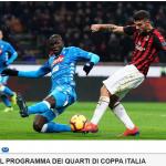 Partite in tv oggi 29 gennaio, la coppa Italia su Rai1: c'è Milan-Napoli