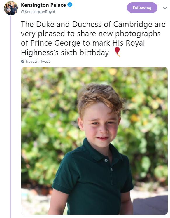 Buon compleanno Baby George: tre nuove foto per festeggiare i sei anni del figlio di Kate e William