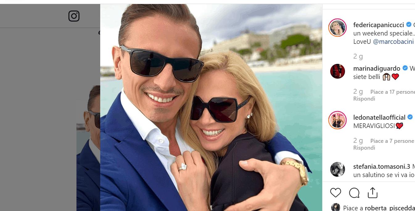 Federica Panicucci e Marco Bacini pronti per il matrimonio? Spunta il brillocco