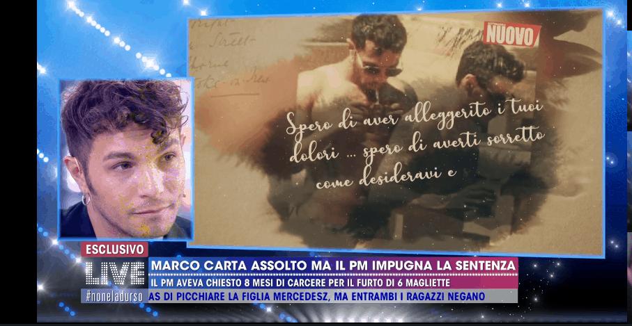 La lettera d'amore di Sirio per Marco Carta: lacrime del cantante a Live