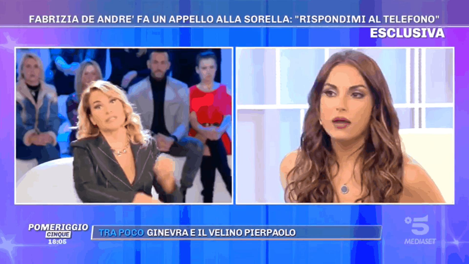 Pomeriggio 5, Francesca de Andrè non perdona sua sorella Fabrizia: parenti serpenti