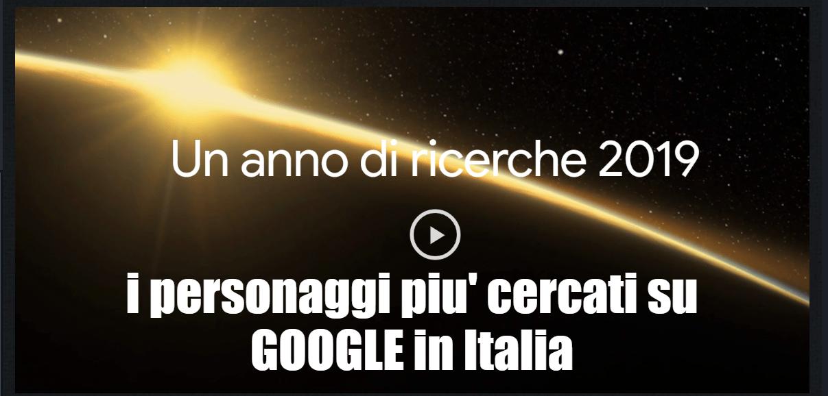 I 10 personaggi più cercati su GOOGLE in Italia nel 2019