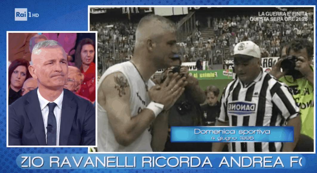 Fabrizio Ravanelli in lacrime a Vieni da me per il padre e Andrea Fortunato, crolla e resta un campione (Foto)