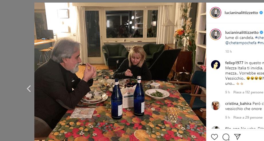 Luciana Littizzetto cena con Beppe Vessicchio dopo Che tempo che fa: tutti pazzi per il maestro