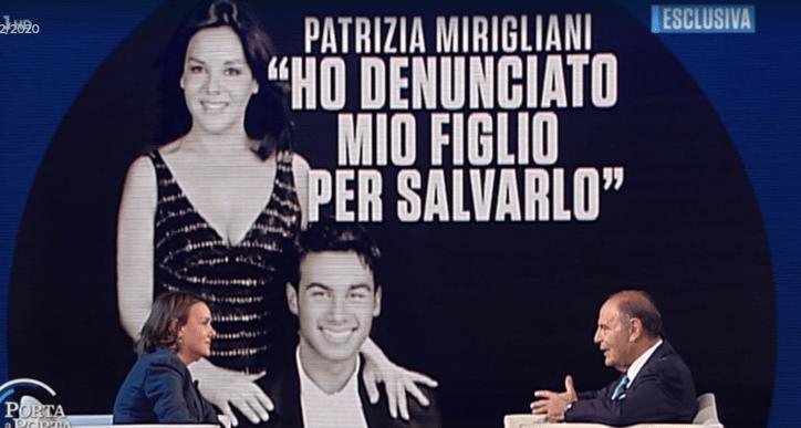 Lo strazio di Patrizia Mirigliani in lacrime a Porta  porta: