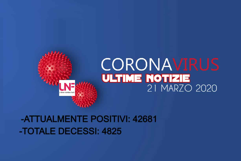 Coronavirus ultime notizie 21 marzo: 793 nuovi decessi ( 546 solo in Lombardia), totale positivi 42.681