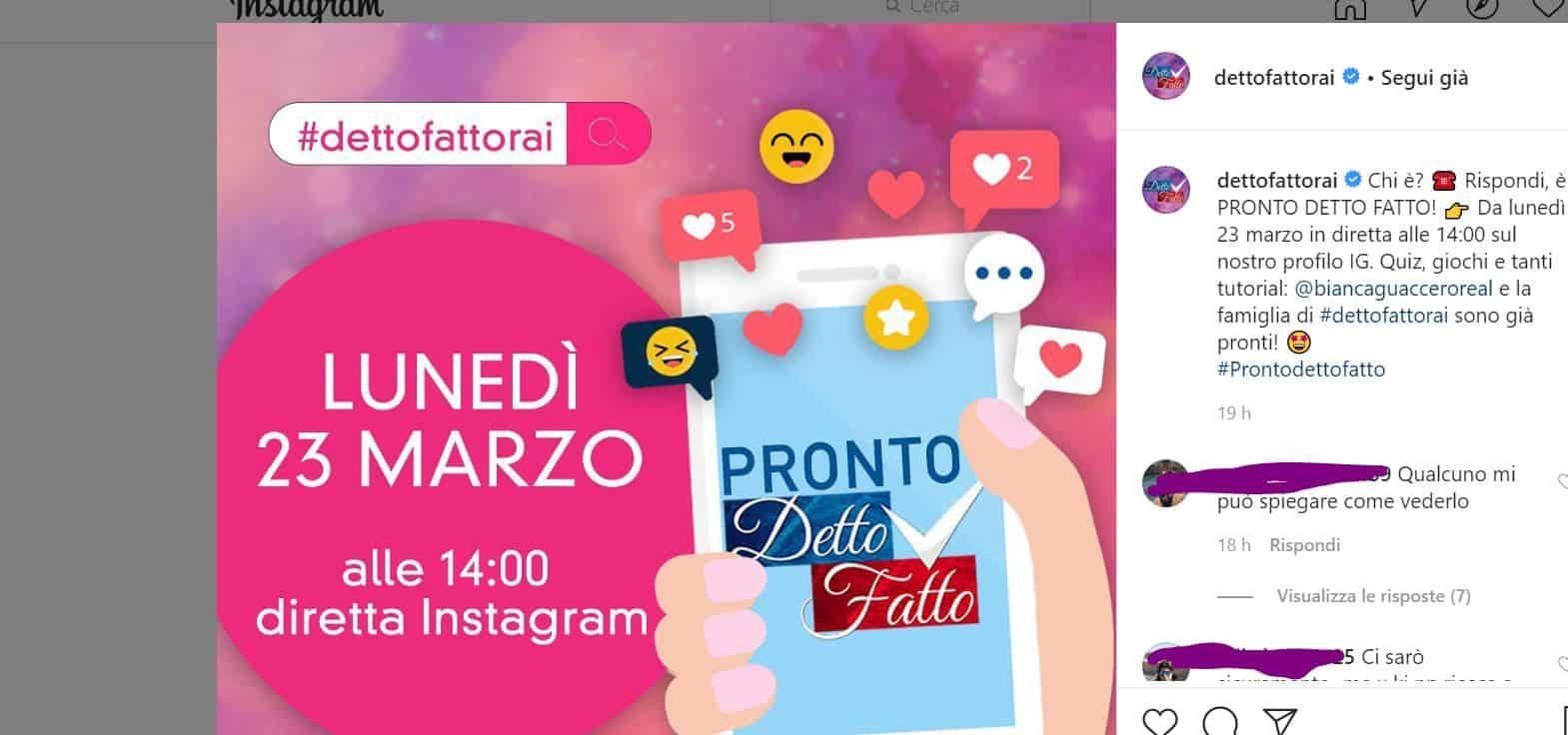 Detto Fatto si sposta su Instagram con Pronto Detto Fatto in diretta: come vederlo