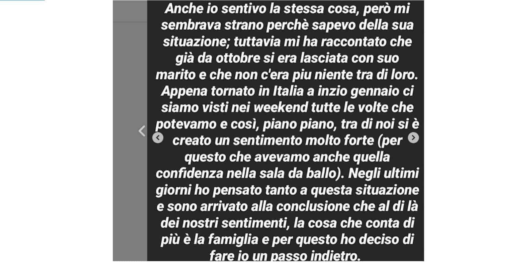 """Valentin lascia Francesca Tocca: """"Mi sono innamorato di una donna sposata"""", poi cancella tutto"""