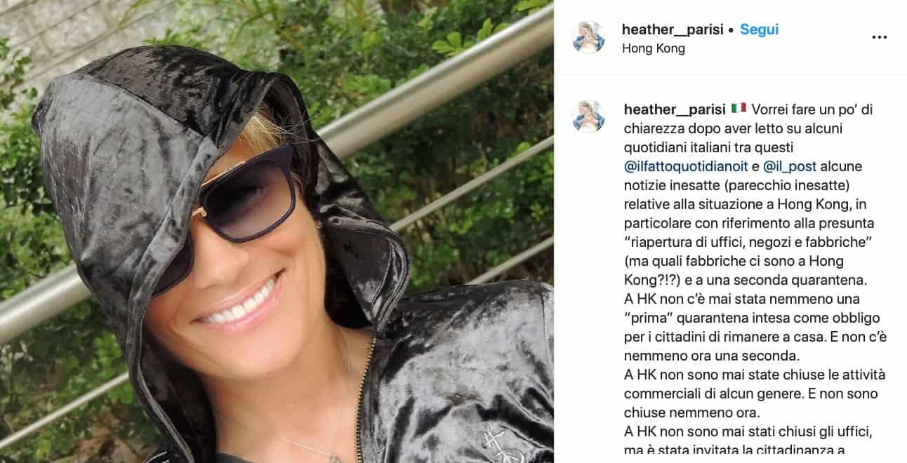 """Heather Parisi spiega la situazione a Hong Kong: """"Non c'è mai stata la prima quarantena"""""""
