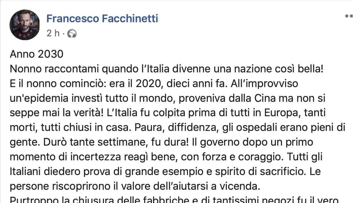 Francesco Facchinetti racconta quello che diremo ai nipoti nel 2030: abbiamo bisogno di favole