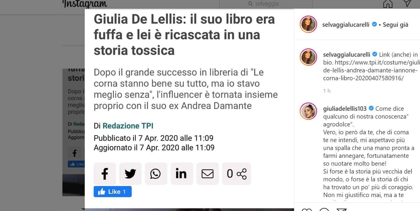 """Giulia De Lellis risponde a Selvaggia Lucarelli. """"Il mio libro fuffa? Tu di corna te ne intendi"""""""