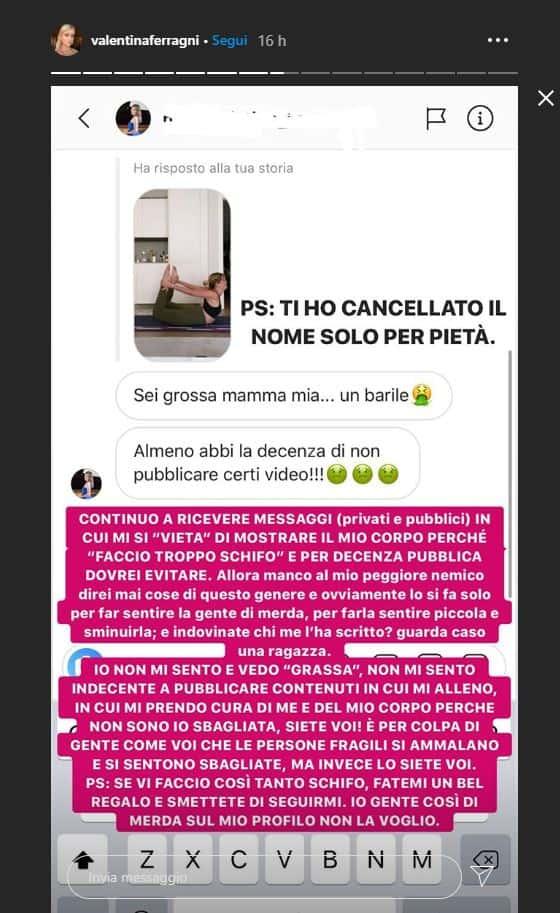 Valentina Ferragni fa ginnastica sui social e viene pesantemente offesa: sei grossa, sei un barile non pubblicare video