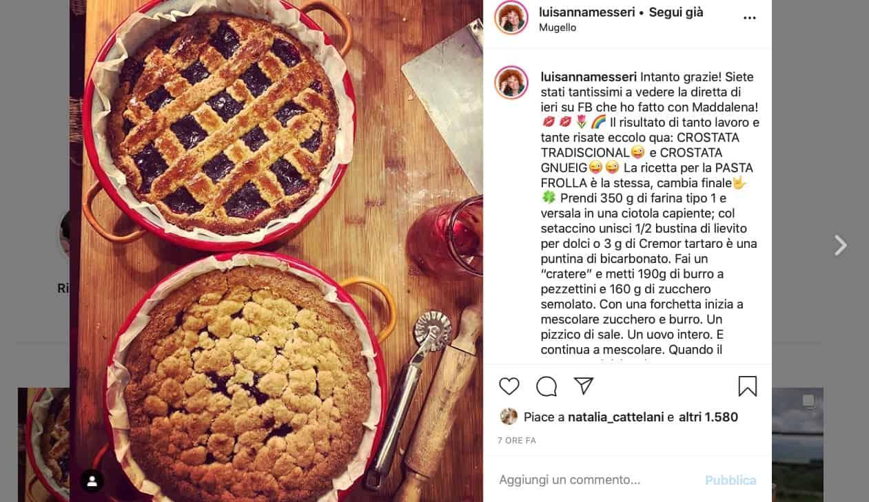 Luisanna Messeri prepara la crostata tradizionale e quella moderna, la ricetta in diretta