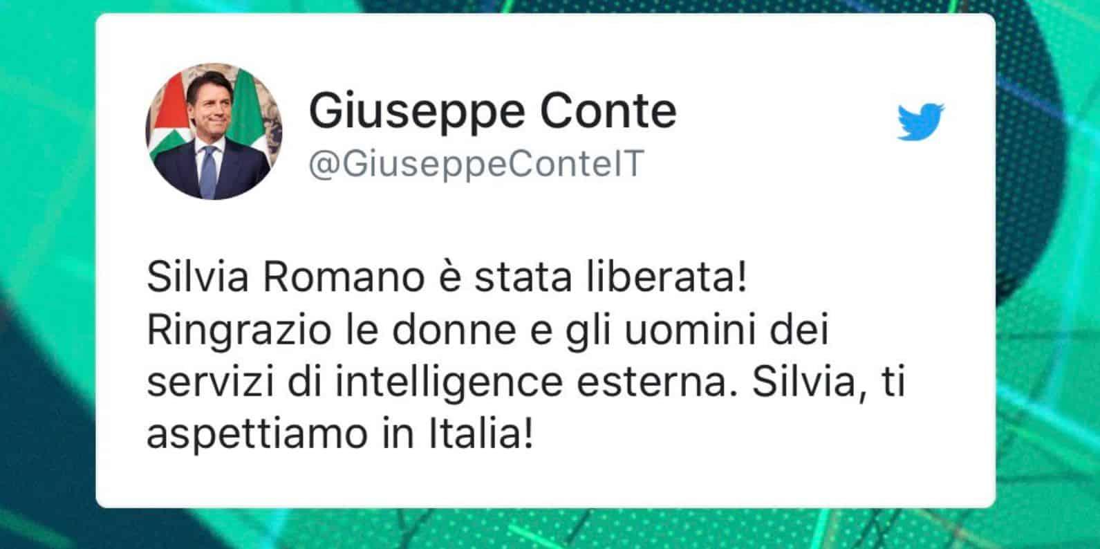 Silvia Romano torna libera: lo annuncia il Premier Conte sui social