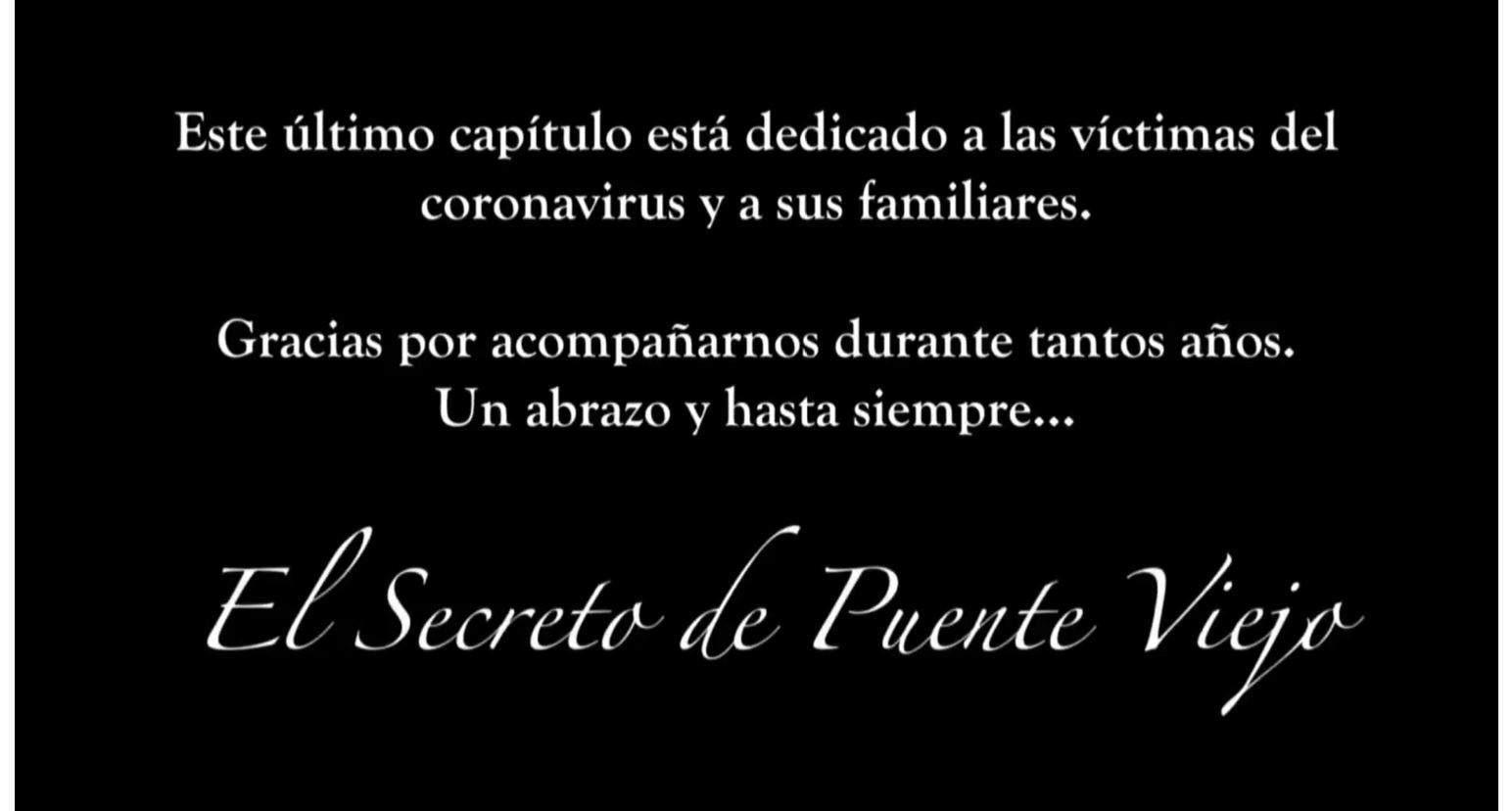 In Spagna l'ultima puntata de Il segreto è stata dedicata a tutte le vittime del coronavirus e alle famiglie