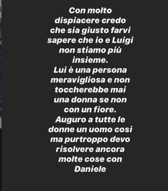 Elena Morali annuncia la rottura con Luigi Favoloso (con una motivazione che stupisce) ma poi cancella il post!