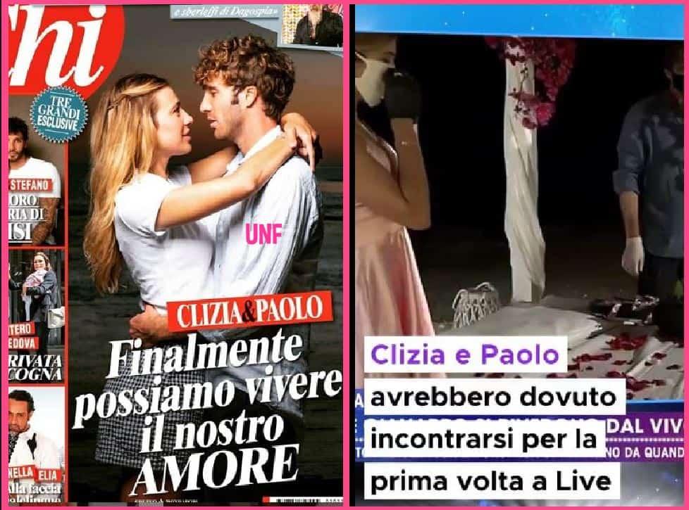 Clizia e Paolo a Live con guanti e mascherina sulla copertina di Chi a pochi centimetri di distanza (FOTO)