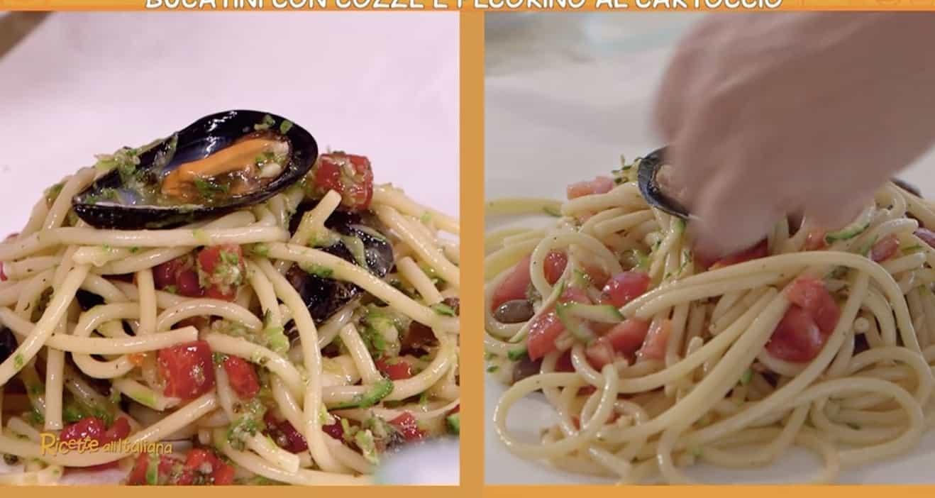 Ricette all'italiana: bucatini con cozze e pecorino al cartoccio