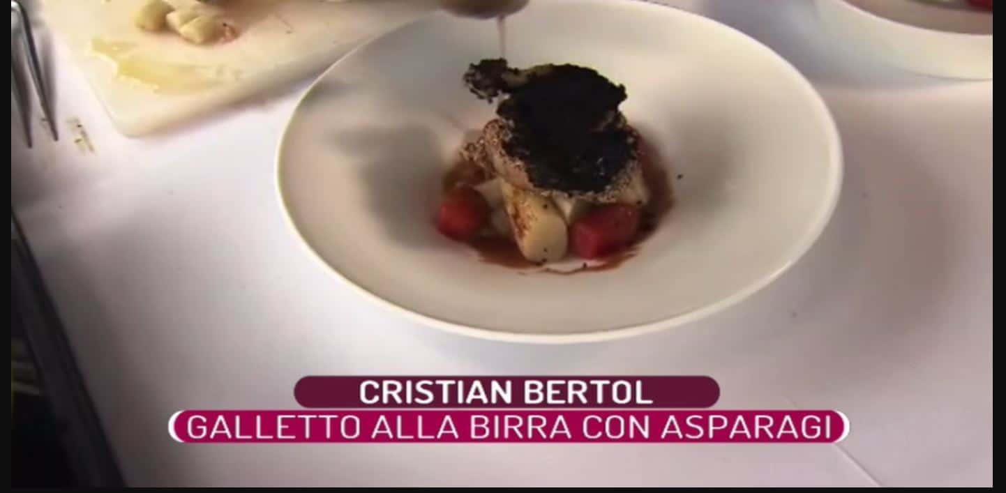 Galletto alla birra con asparagi: una ricetta di Cristian Bertol