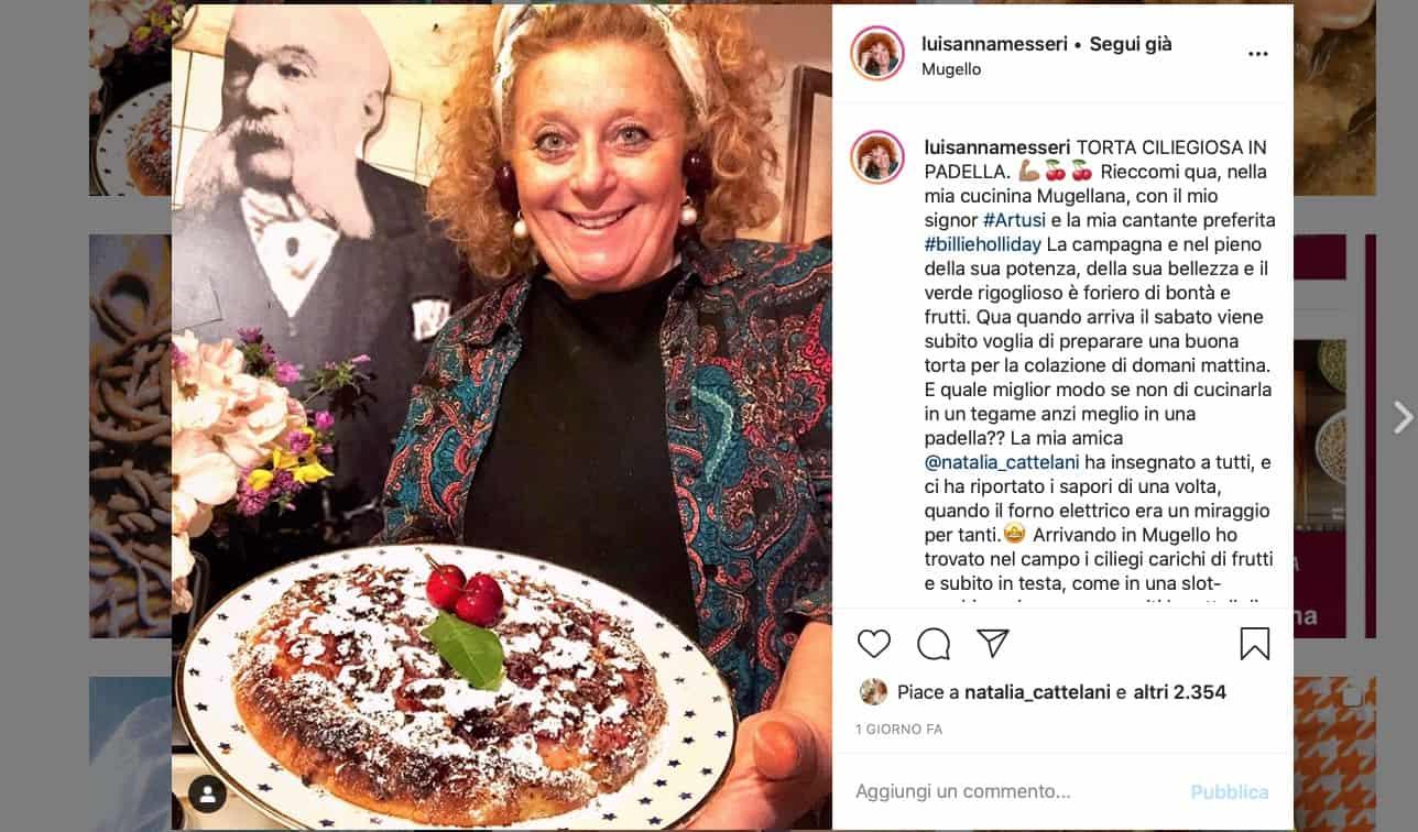 Torta con le ciliegie in padella, la ricetta di Luisanna Messeri
