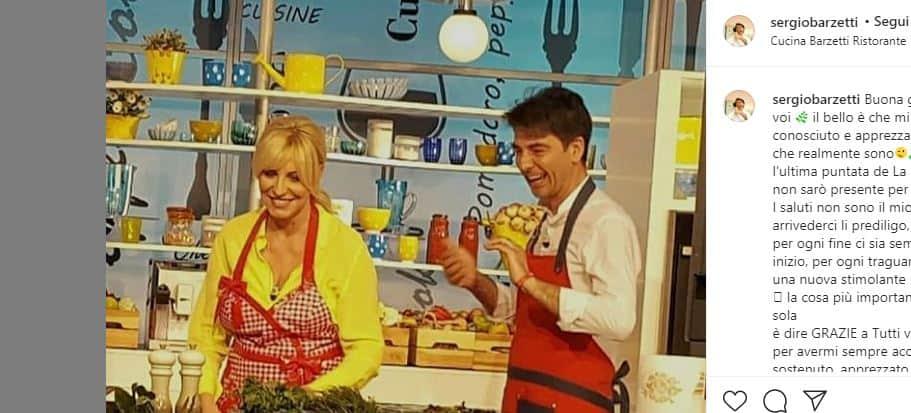 Sergio Barzetti assente per l'ultima puntata de La prova del cuoco ma saluta dai social con la Clerici