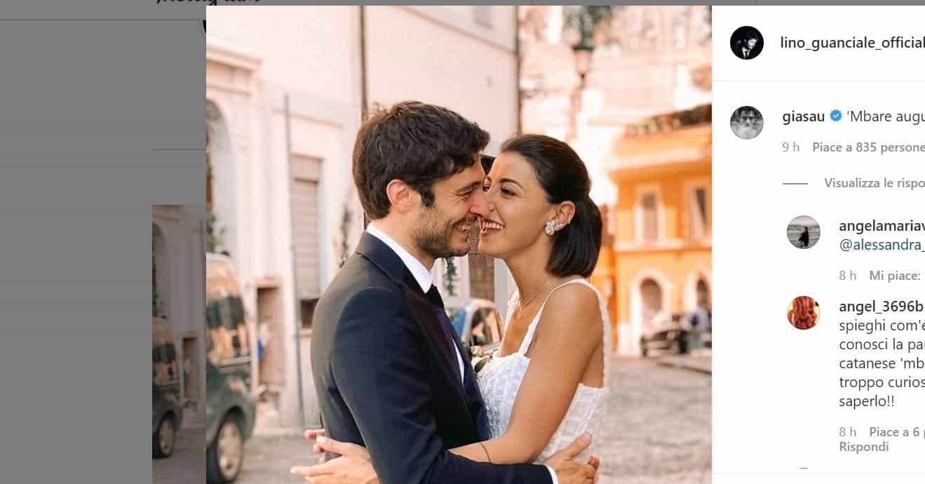 Lino Guanciale pubblica sui social la foto del matrimonio con Antonella: pioggia di auguri per la coppia