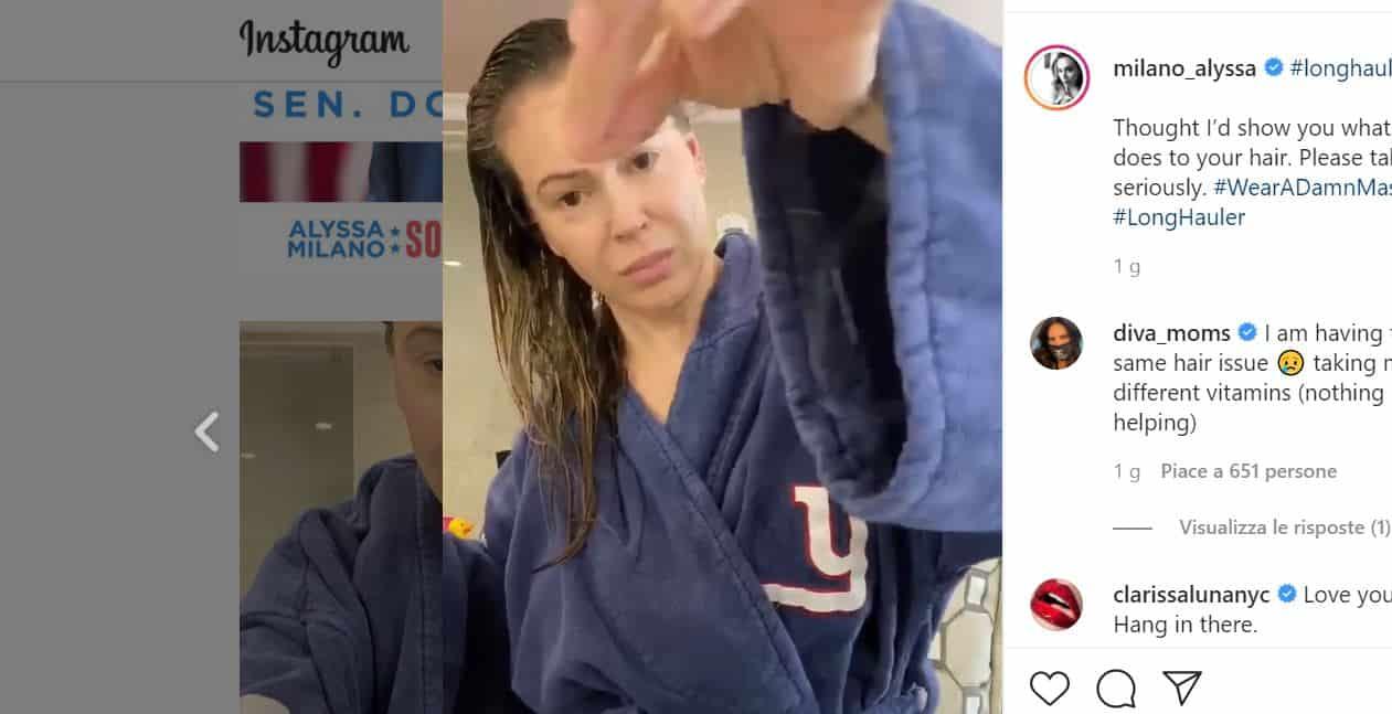 Alyssa Milano l'attrice di Streghe positiva al Covid19 sui social: la caduta di capelli