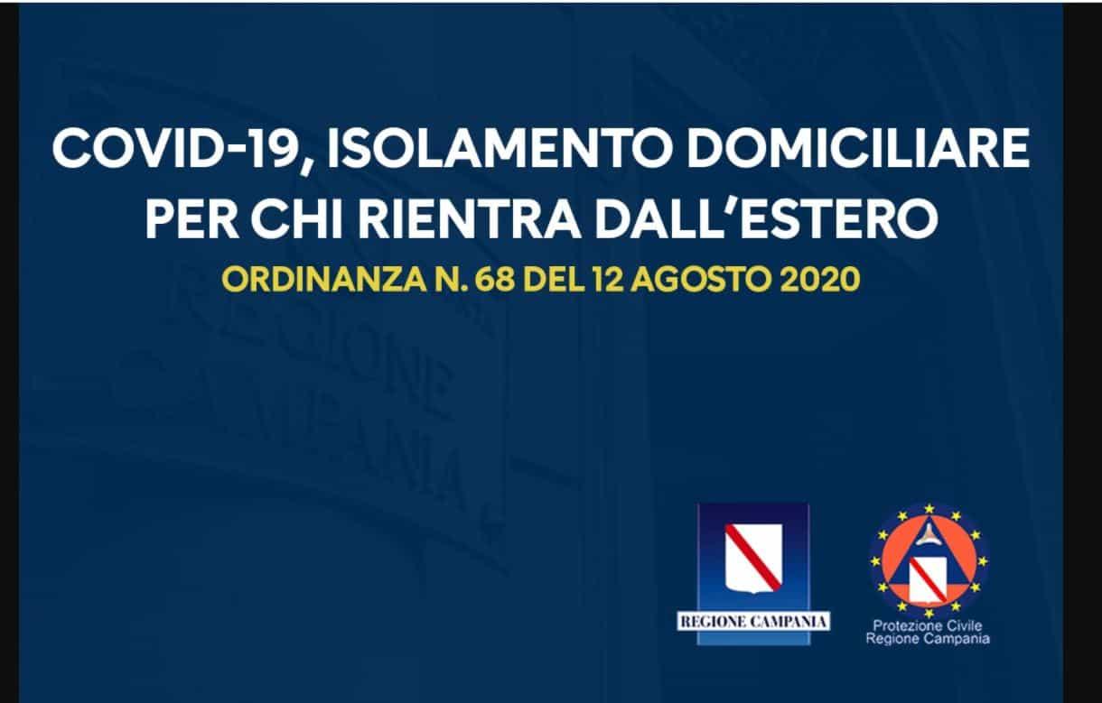 In Campania obbligo di isolamento domiciliare per chi ritorna dall'estero: l'ordinanza di De Luca