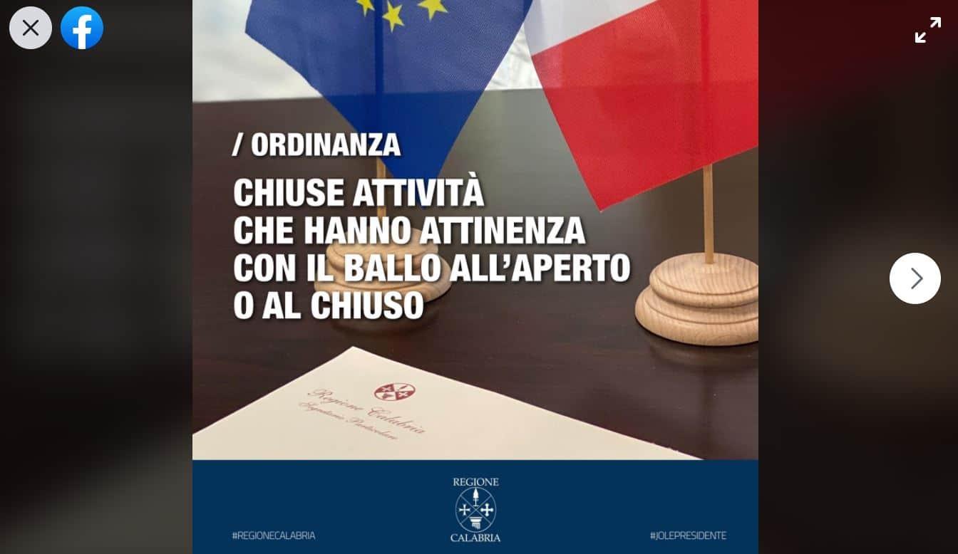 In Calabria discoteche chiuse: sospese tutte le attività attinenti con il ballo sia all'aperto che al chiuso