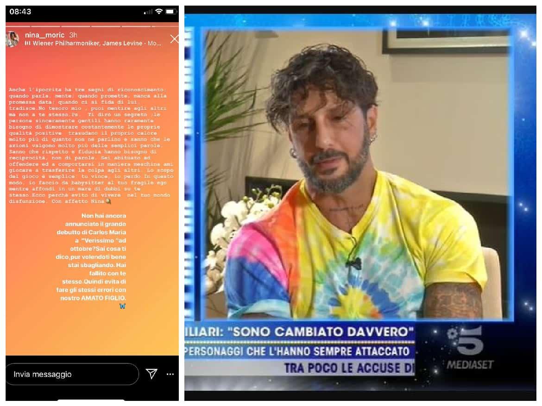 """Fabrizio Corona su Nina Moric: """"Sta male, ha bisogno di aiuto"""" e lei risponde dai social"""