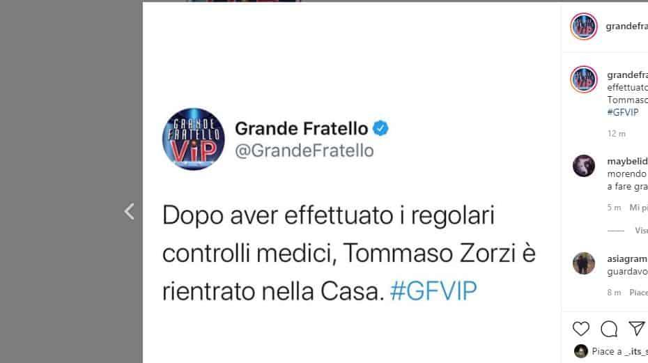 Tommaso Zorzi rientra nella casa del GFVIP 5: nessuno sospetto di coronavirus