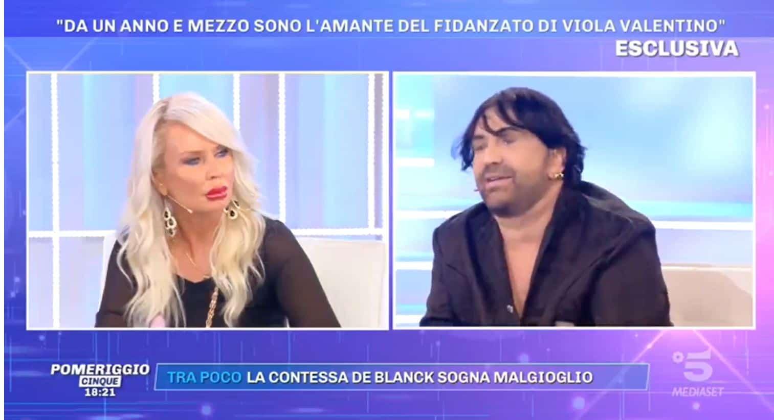 """A Pomeriggio 5 Simona: """"Sono l'amante del fidanzato di Viola Valentino e lei lo sa"""""""