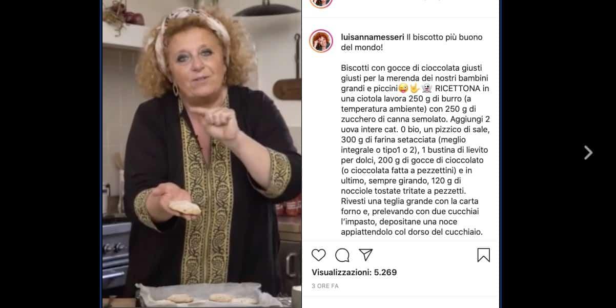 Luisanna Messeri prepara i biscotti al cioccolato più buoni del mondo, la ricetta Instagram