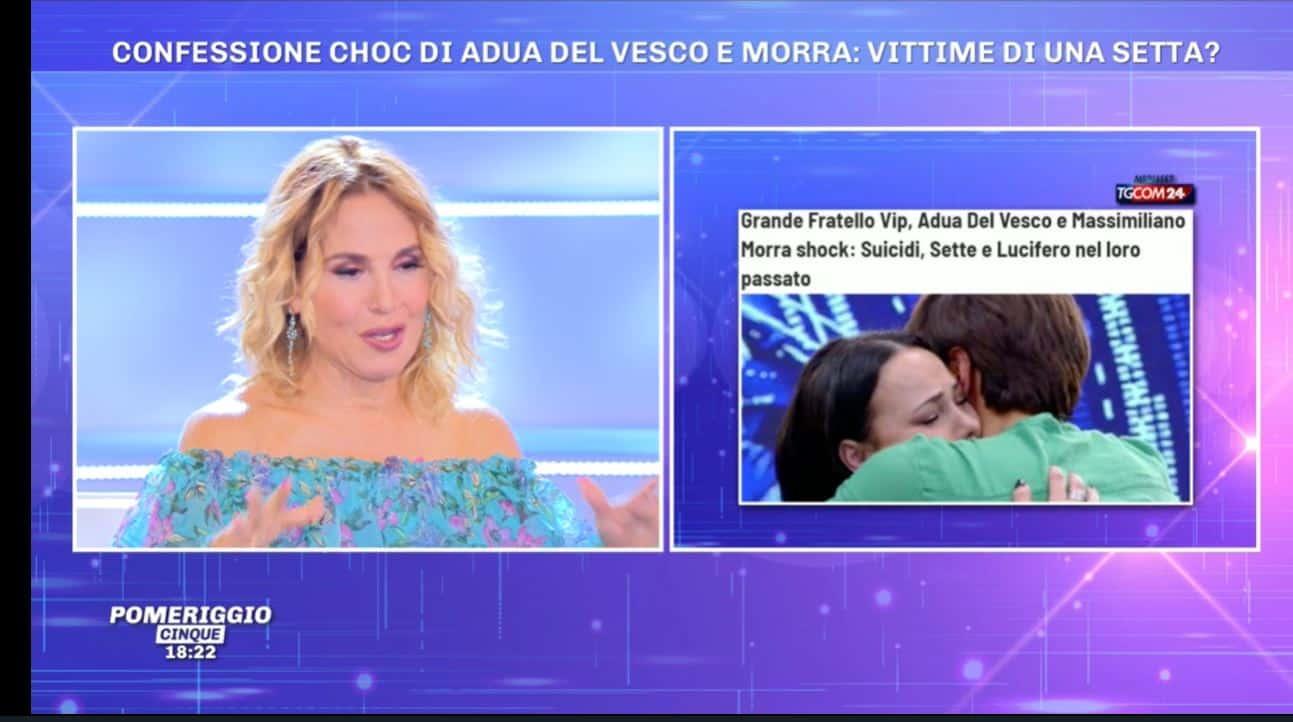 """A Pomeriggio 5 la d'Urso sulle rivelazioni di Adua e Massimiliano: """"Una persona famosissima mi ha raccontato le stesse cose"""""""
