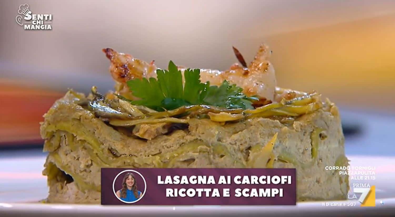 Nuove ricette Benedetta Parodi: lasagne ricotta carciofi e scampi