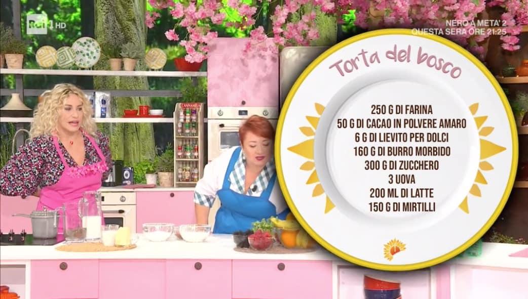 Torta del bosco, la prima ricetta di E' sempre mezzogiorno con zia Cri e Antonella Clerici