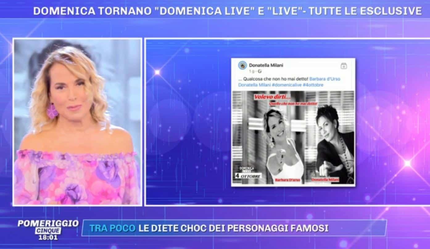 Domenica Live 4 ottobre 2020: tra gli ospiti Donatella Milani con una rivelazione shock